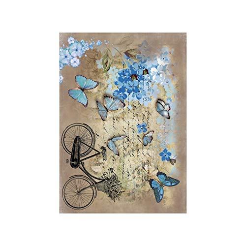 Cadence Papel de Arroz Mariposas Azules y Bici 30x41cm
