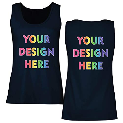 lepni.me Camisetas sin Mangas para Mujer Impresión Personalizada de 2 Caras en el Frente y en la Parte Posterior, Texto Personalizado o Diseño de su Propia Imagen (XX-Large Azul Multicolor)