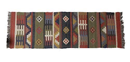 iinfinize - Runner in lana di iuta intrecciata a mano da pavimento turco Kilim Tappeto vintage Dhurri pavimento tappeto decorativo tappetino da cucina tappetino yoga corridoio tappeto arredamento casa