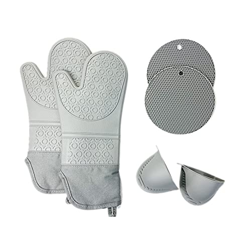 Oven Mitts Kit, Kitchen Oven Gloves with Pinch Mitts & Silicone Pads, for Baking, Cooking and Grilling