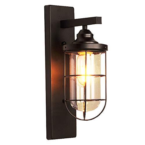 XH zwart smeedijzeren wandlampen-licht-metaal-glazen lampenkap met roosterverlichting binnenverlichting retro industriële stijl ASZ