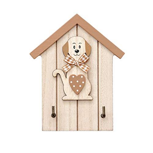 Colgador de llaves para pared en madera, estante para llaves, organizador colocar llaves con 2 ganchos forma de casa con figura de perro, color naturales Wall Key Holder Dog Design