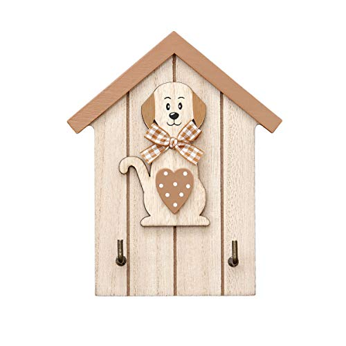 Colgador de Llaves para Pared en Madera, Estante para Llaves, Organizador Colocar Llaves con 2 Ganchos Forma de casa con Figura de Perro, Color Naturales Wall Key Holder Dog Design