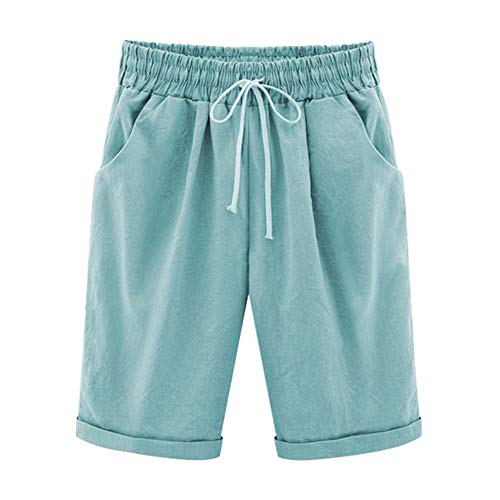 FABEILAI Women's Elastic-Waisted Bermuda Casual Shorts with Pockets #9800 TQ 12/14