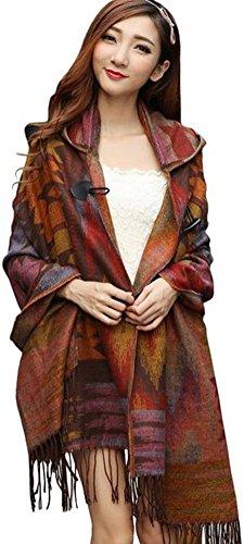 YEESAM Poncho Damen, Neu mit Kapuze Schal - Frauen Winter Mit Kapuze Poncho Cape Mantel Warm Schal Mantel (#12)