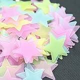 Gwgbxx Vinilos Decorativos 100 Estrellas Luminosas De Plástico De 38 Mm Tridimensionales Fósforo Que Emite Las Pegatinas Decorativas Vivos