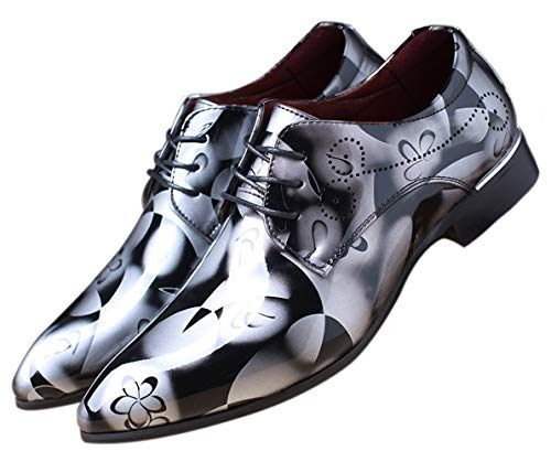 Men Fashion Shoes Dress Pointed Toe Floral Patent Leather Lace Up Oxford Grey 14 US
