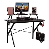 DlandHome Gaming Desk 47 inches w/Adjustable Display Speaker Stand and Headphone Gamepad Holder Multifunction Computer Desk/Gaming Table, Walnut Black YX001-BB