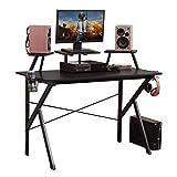 DlandHome Gaming Desk 47 inches Studio Desk w/Adjustable Display Speaker Stand and Headphone Gamepad Holder Multifunction Computer Desk/Gaming Table, Walnut Black YX001-BB