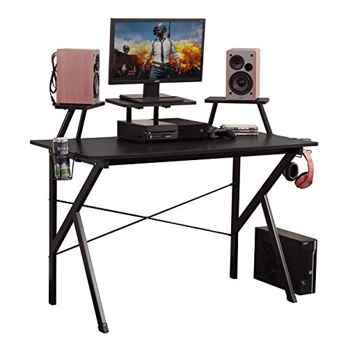 DlandHome Gaming Desk 47 inches Studio Desk w/Adjustable Display Speaker Stand and Headphone Gamepad Holder Multifunction Computer Desk/Gaming Table, Walnut Black YX001-BB