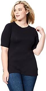 Daily Ritual Amazon Brand Women's Plus Size Rib Knit Jersey Elbow-Sleeve Boat Neck Shirt