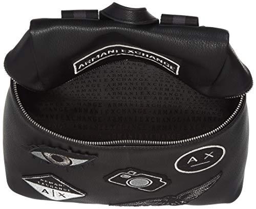 ARMANI EXCHANGE Patchwork Backpack - Borsette da polso Donna, Nero, 30.0x13.0x28.0 cm (B x H T)
