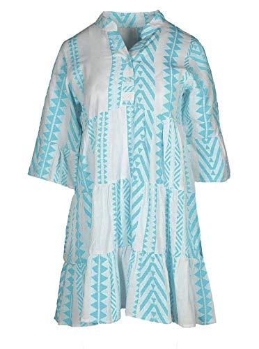 Zwillingsherz Sommerkleid im Ibiza Design – Hochwertiges Partykleid für Damen Frauen Mädchen - Strandkleid Kurzkleid - Locker luftig - OneSize - Perfekt für Frühling Sommer und Herbst - hbl