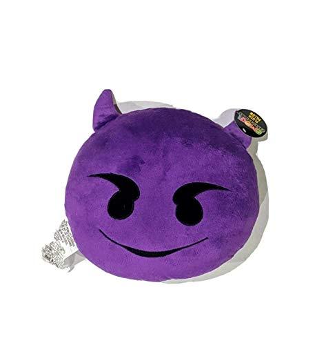 "PLUSH & PLUSH TM 12"" Inch / 30cm Large Emoji Pillows Smiley Emoticon Soft Plush Stuffed Yellow Roundy Full Collection (USA SELLER) (PURPLE DEVIL)"