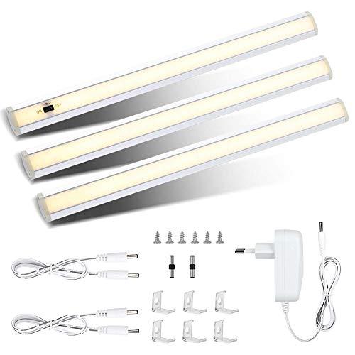 Preisvergleich Produktbild 3er LED Unterbauleuchte Küche,  1200LM Warmweiß Dimmbare Schrankbeleuchtung Schrankleuchte mit Helligkeitssensor,  12W Led Sensor Schranklicht inkl Stecker und Montage-Zubehör