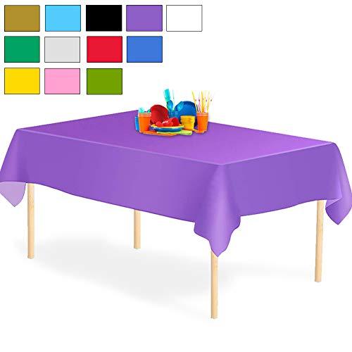 YANGTE Einweg Tischdecke aus Kunststoff 4 Stück,Lila Plastik Tischtuch Rechteck 137x274cm für Tische im Indoor und Outdoor Partys, Garten, Geburtstage, Hochzeiten, Weihnachten