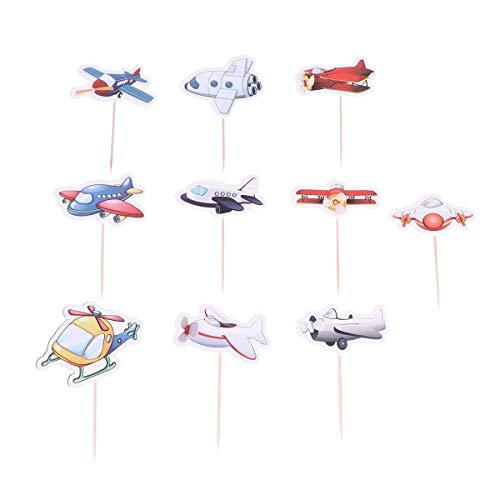 Amosfun 10 Stück Flugzeug Kuchen Topper Cake Cupcake Picks Kuchendeko Tortendeko für Kinderparty Baby Mädchen Kinder Geburtstag Party Deko