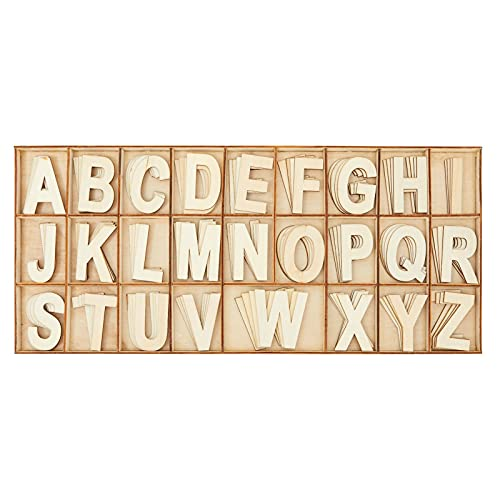 2 in Wooden Letters with Storage Tray for Crafts, Wood Alphabet ABCs for Learning, Wall Decor (4 of Each Letter, 104 Pieces)