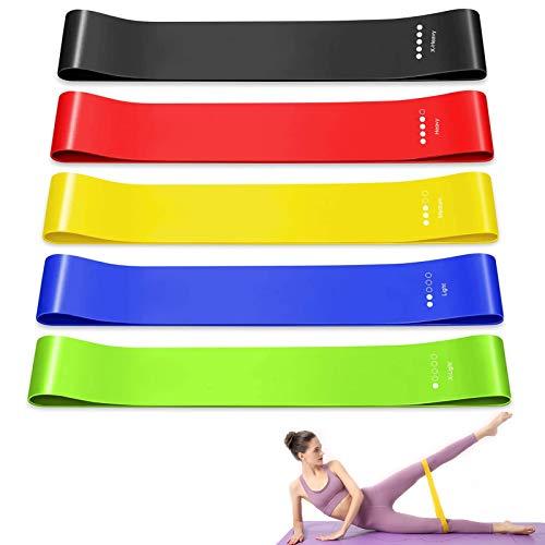 Ealicere Bande Élastique Fitness en Tissu,[Lot de 5] Bande de Résistance Élastique 5 Niveaux de Force,Équipement d'Exercices pour Rééducation Physique Musculation Pilates Yoga