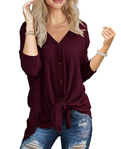 IWOLLENCE Womens Loose Henley Blouse Bat Wing Long Sleeve Button Down T Shirts Tie Front Knot Tops Wine Red M