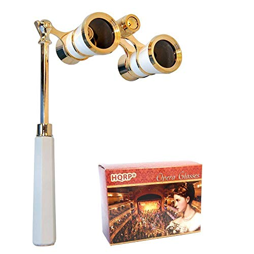 HQRP 3 x 25 Opera Glasses Binocular w/Built-in Extendable Handle/White-Pearl with Gold Trim with Crystal Clear Optics (CCO)