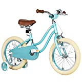 Petimini Kids Bike 14 Inch Girls Bike for 3 4 5 Years Old Bicycle with Training Wheels Mint