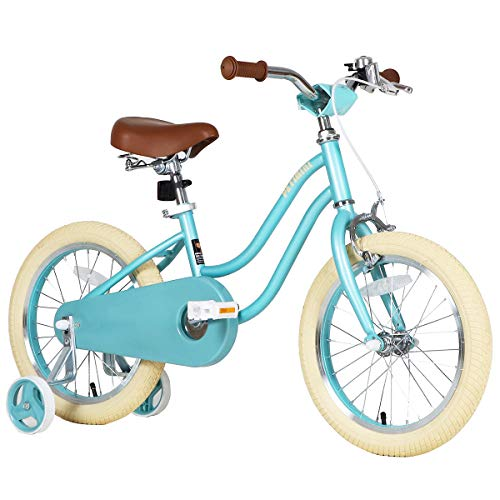 Petimini 14'' 16'' Kids Bike for Girls 2.5-6 Years Old with Training Wheels & Front Hand Brake,Mint...