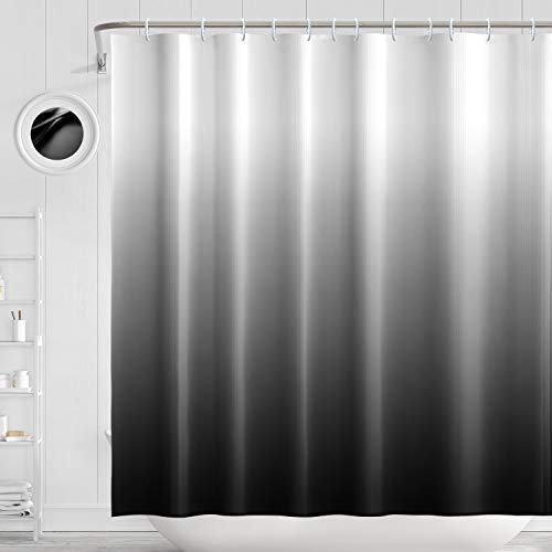 H HOMEWINS Duschvorhang 180 x 180 cm Polyester Wasserdicht Schimmelresistent Anti-Bakteriell Farbverlauf Badvorhang mit 12 Duschvorhangringen (Schwarz)
