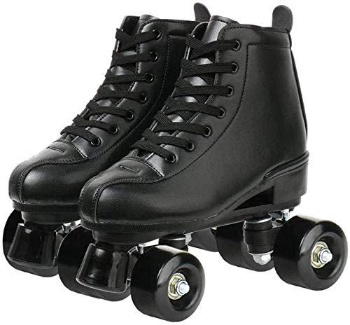 Xbshmw Rollschuhe PU Leder, glänzende Allrad Rollschuhe, Unisex für Erwachsene Kinder mit Tasche,Black Wheel,40