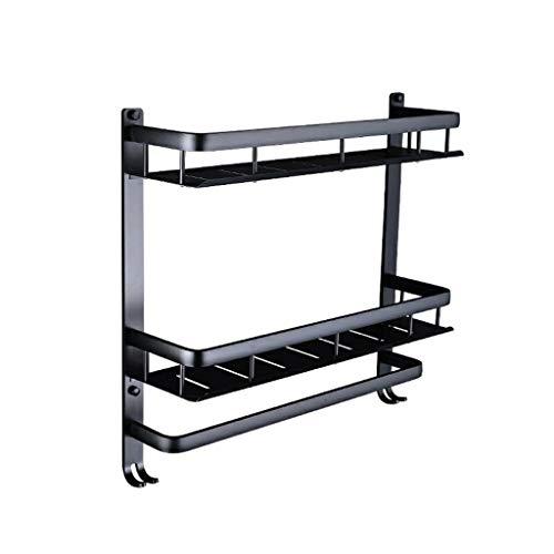Uus Punch-Free-Bad-Regal, Duschraum Hängenden Korb Wand-Doppel-Handtuchhalter Schwarz Space Aluminium Shelf