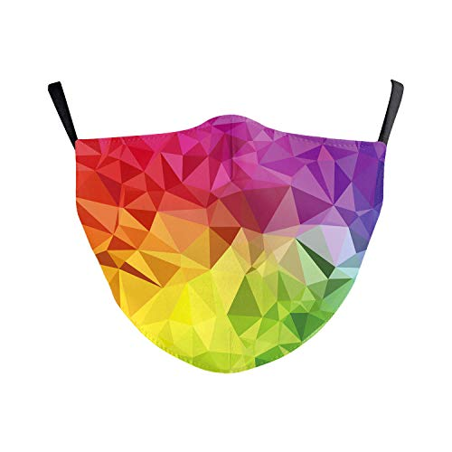 eBoutik - Fashion Filter Face Masks Funny Designs - Face Coverings Great for Social Distancing (Rainbow Crazy Geometric)
