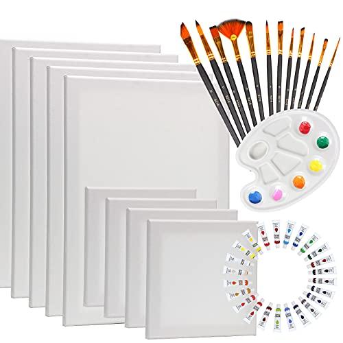 HOTOOLME Leinwand zum bemalen, 9 Stück Leinwand, 30x40cm, 20x20cm, Keilrahmen Set mit 24 Acrylfarben, 12 Pinsel und 1 Palette