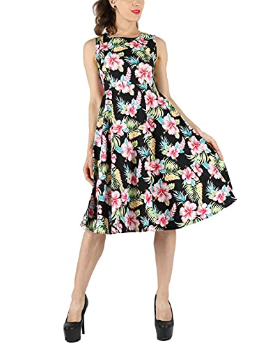 Womens Sleeveless Floral Hawaiian Tank Dress