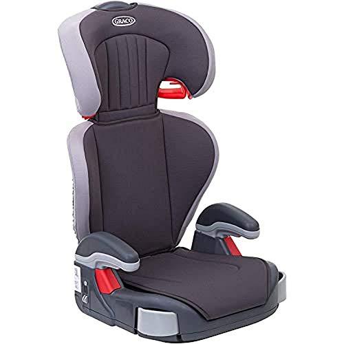 Graco Junior Maxi Kindersitz 15-36 kg, Kindersitzgruppe 2/3, Kindersitzerhöhung, 4 bis 12 Jahre, Armlehnen und Kopfstütze höhenverstellbar, leicht, mit Getränkehalter, grau, Iron