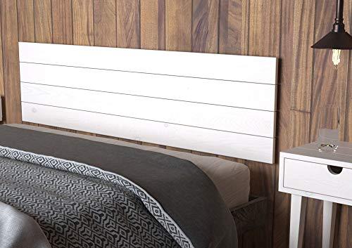 LA WEB DEL COLCHON - Cabecero de Madera Austin Vintage para Cama de 150 (160 x 44 cms.) Blanco nórdico | Cabeceros Madera | Dormitorio Matrimonio | Cabezal Cama | Cama Juvenil |Estilo nórdico