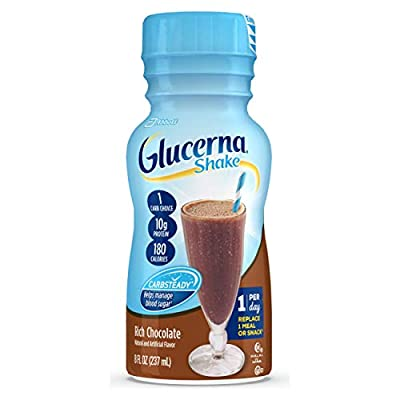 Glucerna, Diabetes Nutritional Shake with 10g of Protein, To Help Manage Blood Sugar, Rich Chocolate, 8 fl oz (Pack of 24)