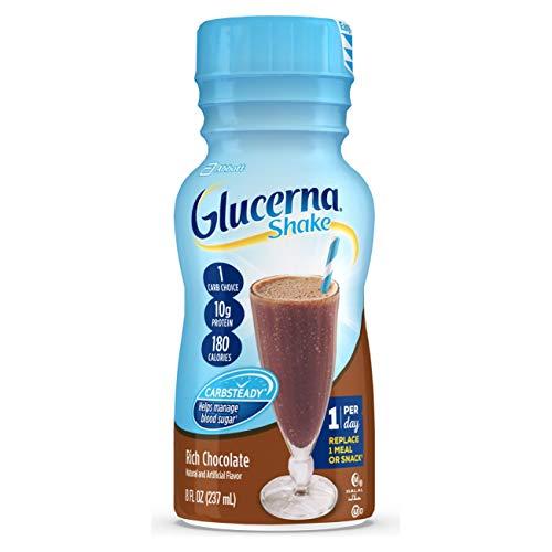 Glucerna, Diabetes Nutritional Shake, To Help Manage Blood Sugar, Rich Chocolate, 8 fl oz (Pack of 24)