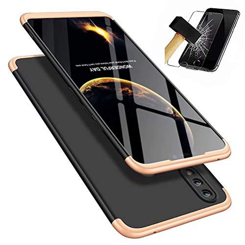 MISSDU kompatibel mit Premium Hart PC 360 Grad Hülle Huawei Honor 8X Hülle + Panzerglas,3 in1 Handytasche Handyhülle Schutzhülle Cover - Schwarz+Gold …