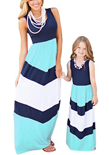 WIWIQS Summer Cute Mommy and Me Boho Striped Chevron Maxi Dresses Blue S