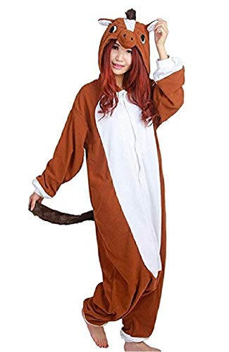 Unisex Adult Animal One Piece Pajamas Brown Horse Onesie for Halloween Cosplay Costume