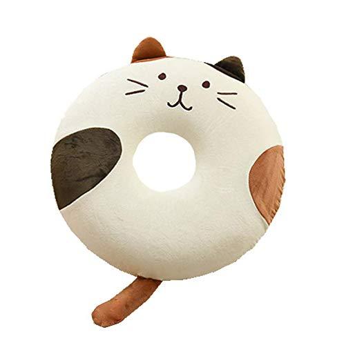 Rorolin 円座クッション ドーナツ型 座布団 腰当 猫 ねこちゃん 癒し系のクッション ミミとしっぽが可愛い...