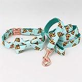 JW-online Popular Pizza Patrón collar de perro y correa con pajarita para perro grande y pequeño collar de tela de algodón oro rosa hebilla de metal