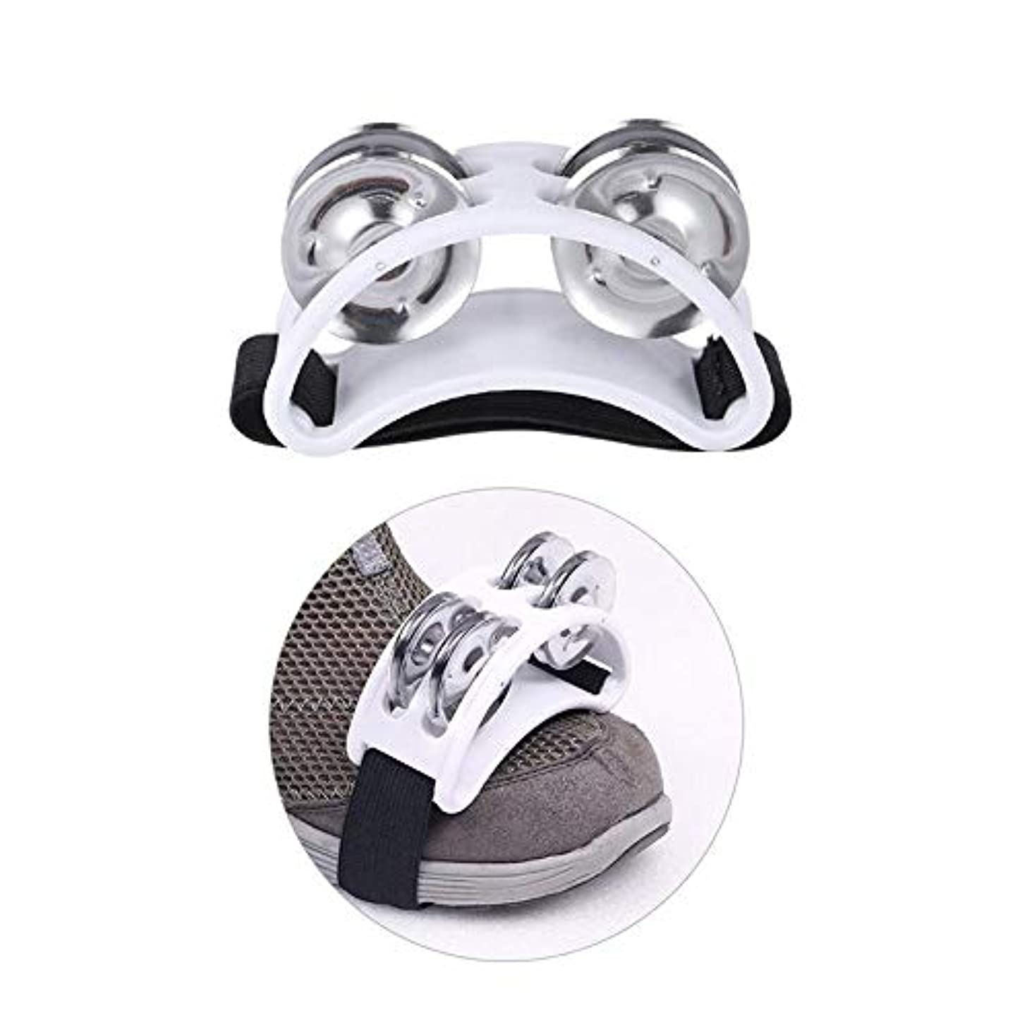 Foot Tambourine With Double Jingle Bell Percussion Musical Instrument Drums (White)