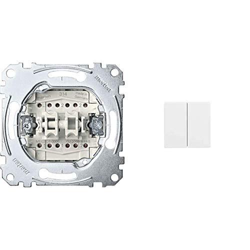 Merten MEG3126-0000 Doppelwechselschalter-Einsatz, 1-polig, 10 AX, AC 250 V, Steckklemmen & 432519 Wippe für Serienschalter, polarweiß glänzend, System M