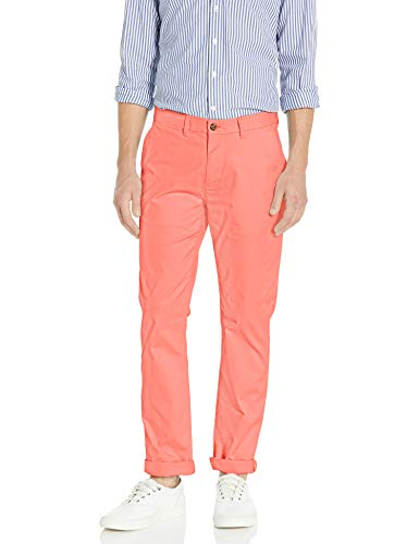 Tommy Hilfiger Men's Stretch Chino Pants in Custom Fit, Spiced Coral, 32W X 36L