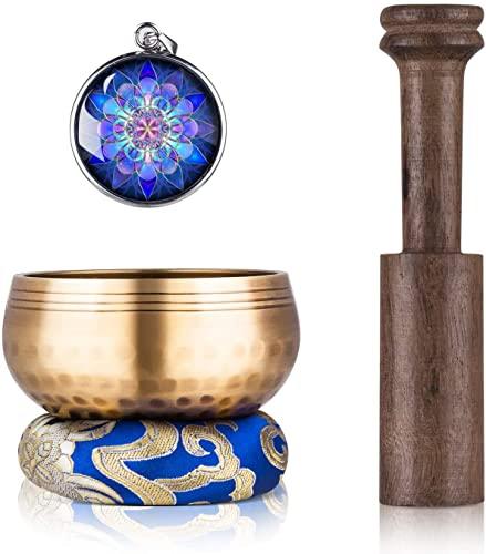 Tibetan Singing Bowl Set - Sing Bowl Unique Gift Helpful for Meditation, Yoga, Relaxation, Chakra Healing, Prayer and Mindfulness (Golden)