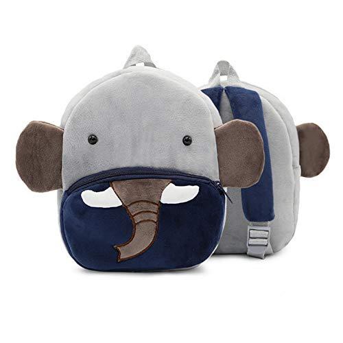 Kleinkind Elefant Rucksack Niedlich Tier Thema Plüsch Schultasche 3D Cute Animal Design Vorschulrucksack mit Zügel Zoo Design Rucksack für Jungen Mädchen