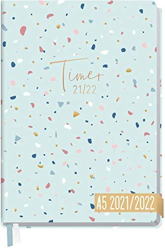 Häfft-Timer 2021/2022 A5 [Terazzo] Hardcover Schüler-Kalender, Schüler-Planer, Schulplaner, Studienplaner/Semesterplaner für Oberstufe, Ausbildung oder Studium | nachhaltig & klimaneutral