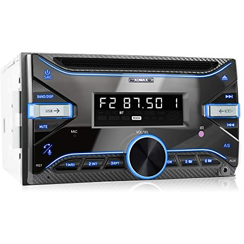 XOMAX XM-2CDB625 Autoradio con Bluetooth Vivavoce + 7 LED colori + CD + Porta USB (fino 64 GB) per MP3 e WMA + AUX-IN + RDS + AM/FM + Dimensioni standard doppio-DIN / 2-DIN