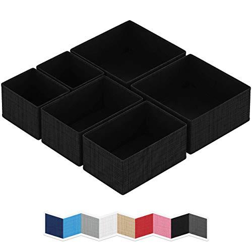 NEATERIZE Drawer Organizer - [Set of 6] - Closet Organizer and Storage Baskets| Foldable Cloth Drawers Divider | Fabric Bin for Dresser & Shelves |Organize Underwear, Socks, Bra, & Tie's (Black)
